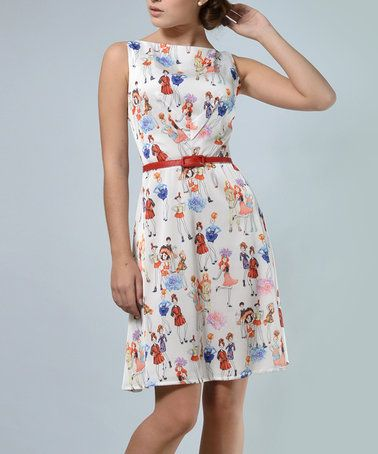 Love this White & Red Floral Fit & Flare Dress & Belt on #zulily! #zulilyfinds