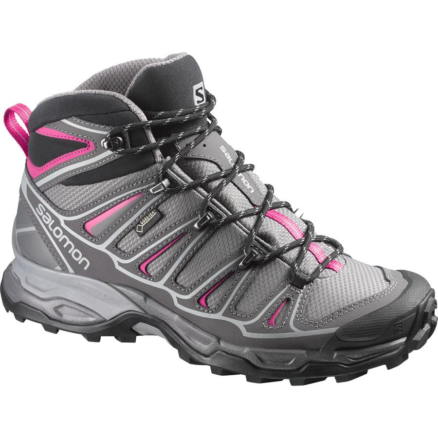 WOMENS SALOMON X ULTRA MID 2 GTX HIKING BOOTS SHOES GRAY PINK BLACK TEX SIZE 9.