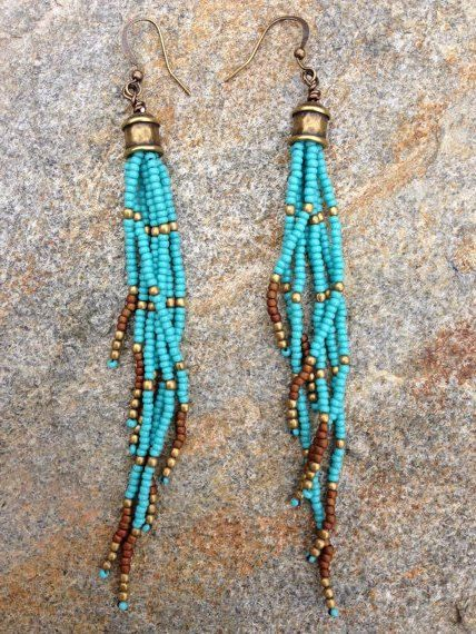 Turquoise Seed Bead Earrings Long Boho By Wildhoneypiedesign