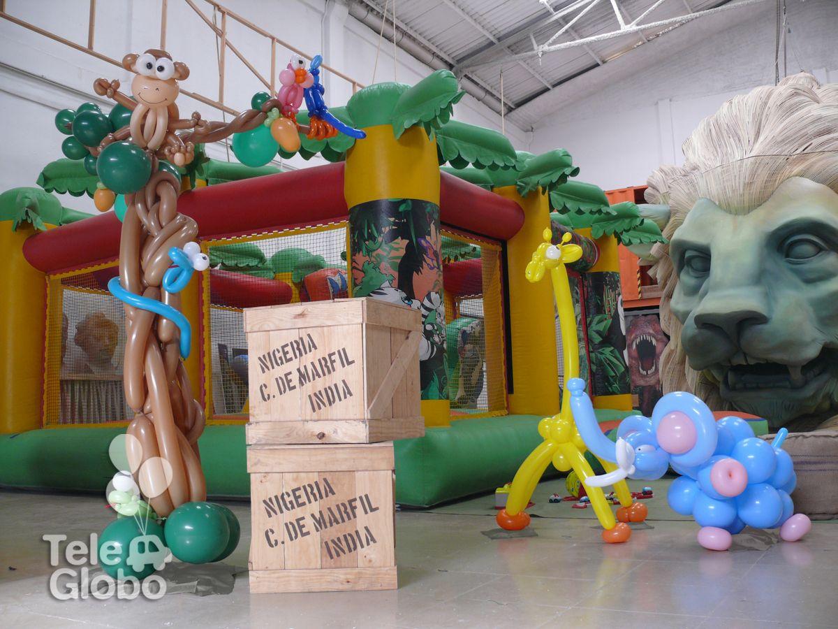 Decoraci n con globos con tem tica selva decoraciones de - Decoracion de cumpleanos infantiles ...
