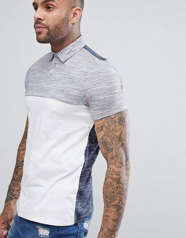 Asos DESIGN polo shirt with contrast back and yoke in interest fabric