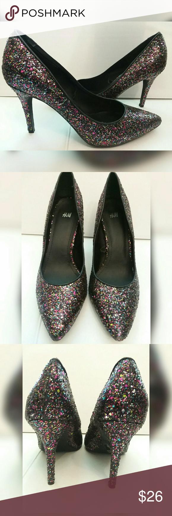 H M Multicolored Glitter 4 Inch Heels Size 8 Beautiful Pair Of H M Multicolored Glitter High Heels Great Condi H M Shoes Glitter High Heels Clothes Design