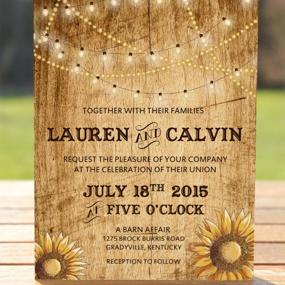 Country Wedding Invitation With Sunflowers And String Lights On A