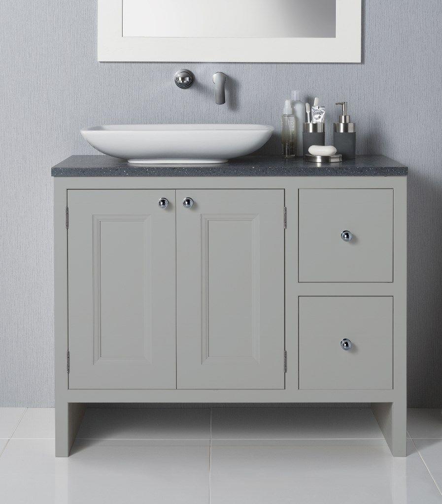 The Tetbury Bathroom painted Lead - 3door/3 drawer vanity unit