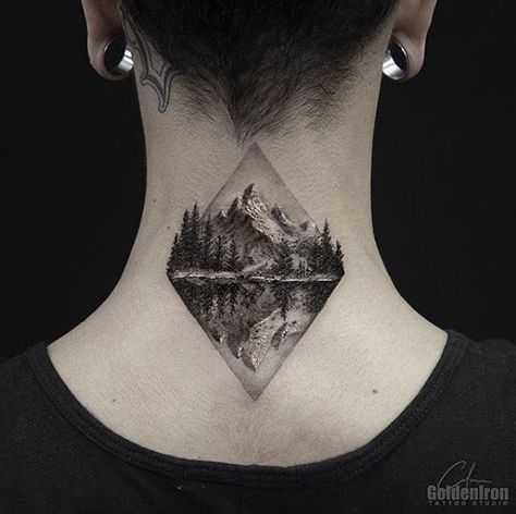 Mountain Range Tattoo By Clean Lines Tattoos Neck Tattoo Tattoos For Guys