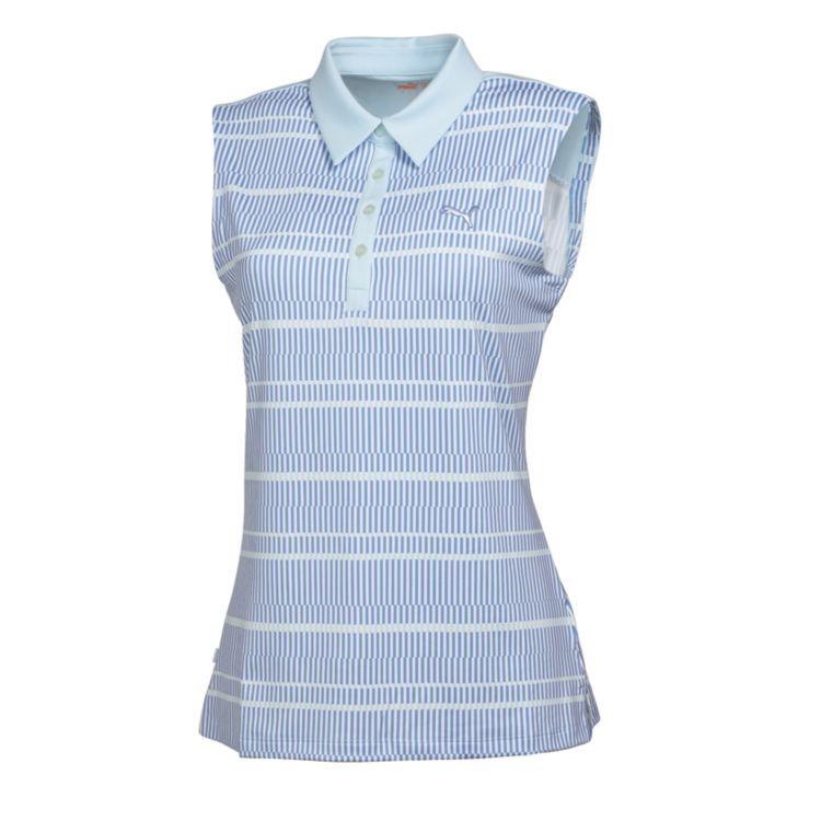 Puma Line Print Sleeveless Womens Golf Shirt White Omphalodes Ultramarine