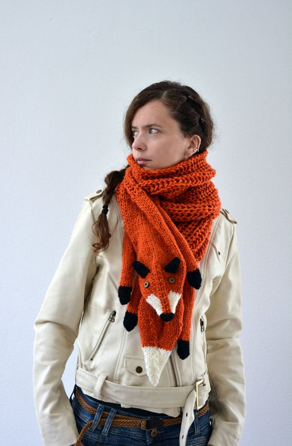 Hand knit long fox scarf in red orange with polymer clay buttons ...
