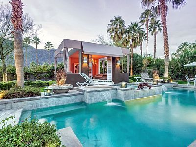 Waterfall and Cabana Pools Pinterest Cabana, Palm springs and Gate