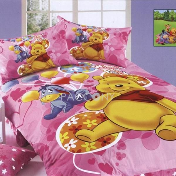 Cartoon Winnie & Eeyore Pink Cotton 4-Piece Twin Size ...