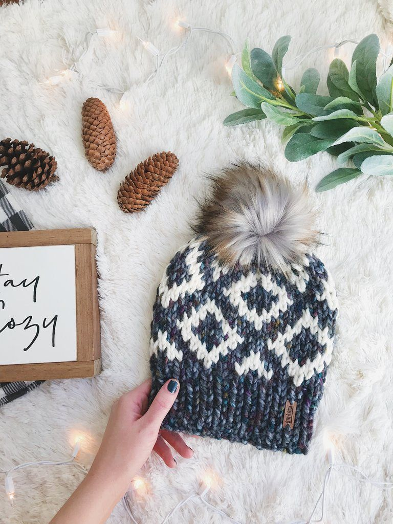 Knit Adult Hat Fair Isle Beanie Faux Fur Pom Pom // Fair Isle ...