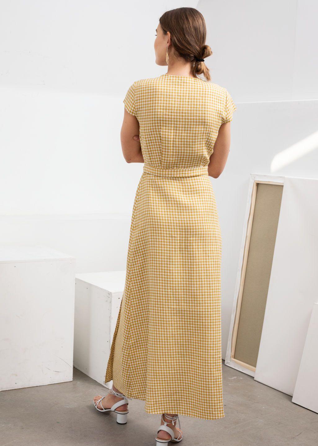 Gingham linen midi wrap dress wrap dress short sleeve