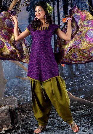 Utsav Fashion Purple Cotton Salwar Suit Indian Fashion Fashion Utsav Fashion