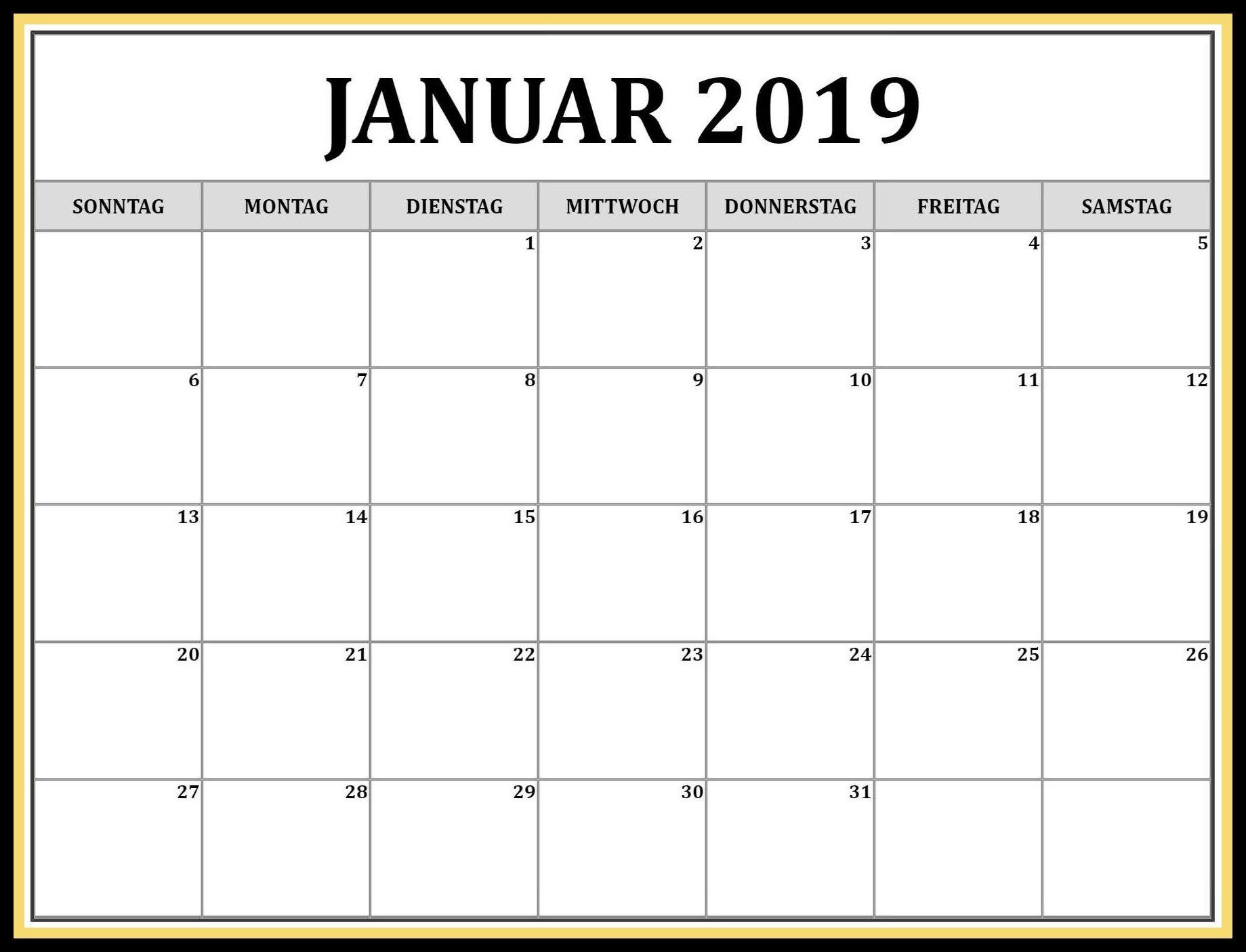 Kalender Januar 2019 Pdf Kalender Januar 2019 Zum Ausdrucken