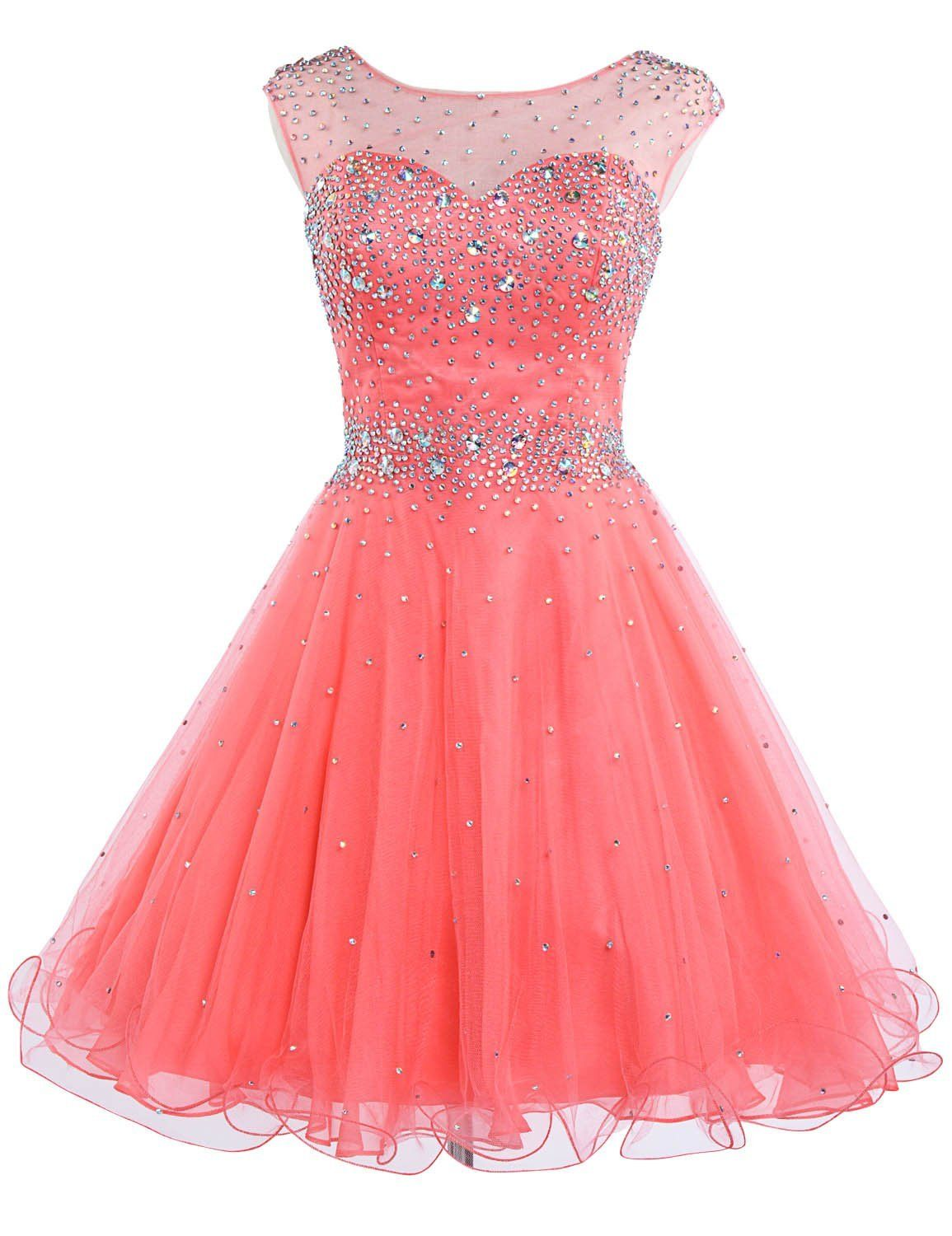 Coral+Illusion+Short+Tulle+A+Line+Homecoming+Cocktail+Dress+Cwb0441 ...