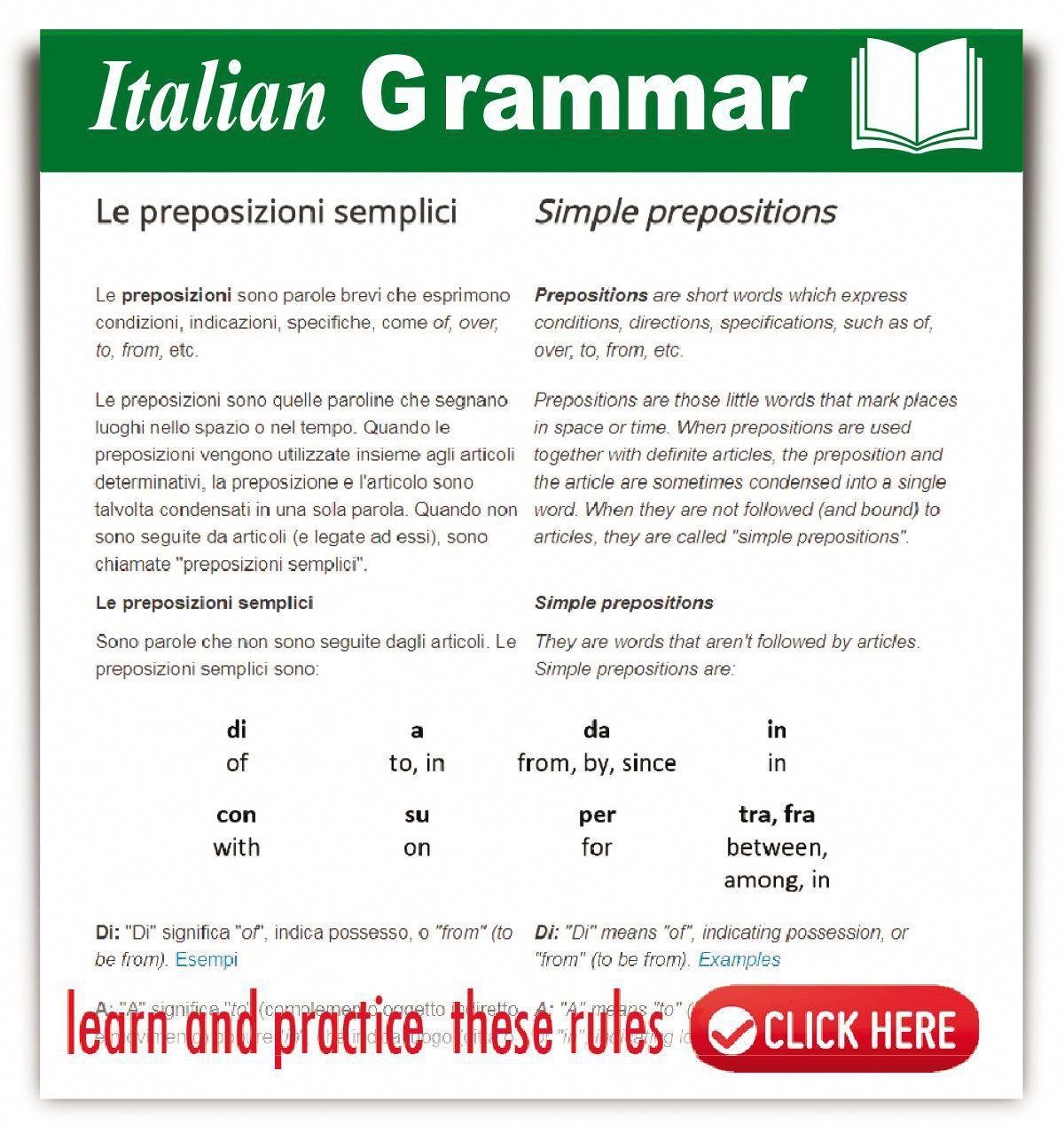 Italian Simple Prepositions