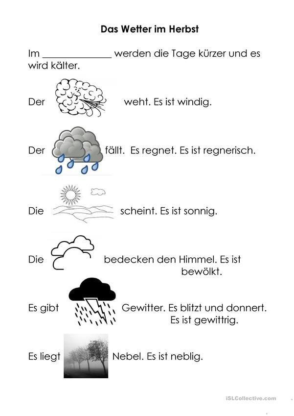 Herbstwetter   Deutschunterricht   Pinterest   Deutsch, Lernen und Kind