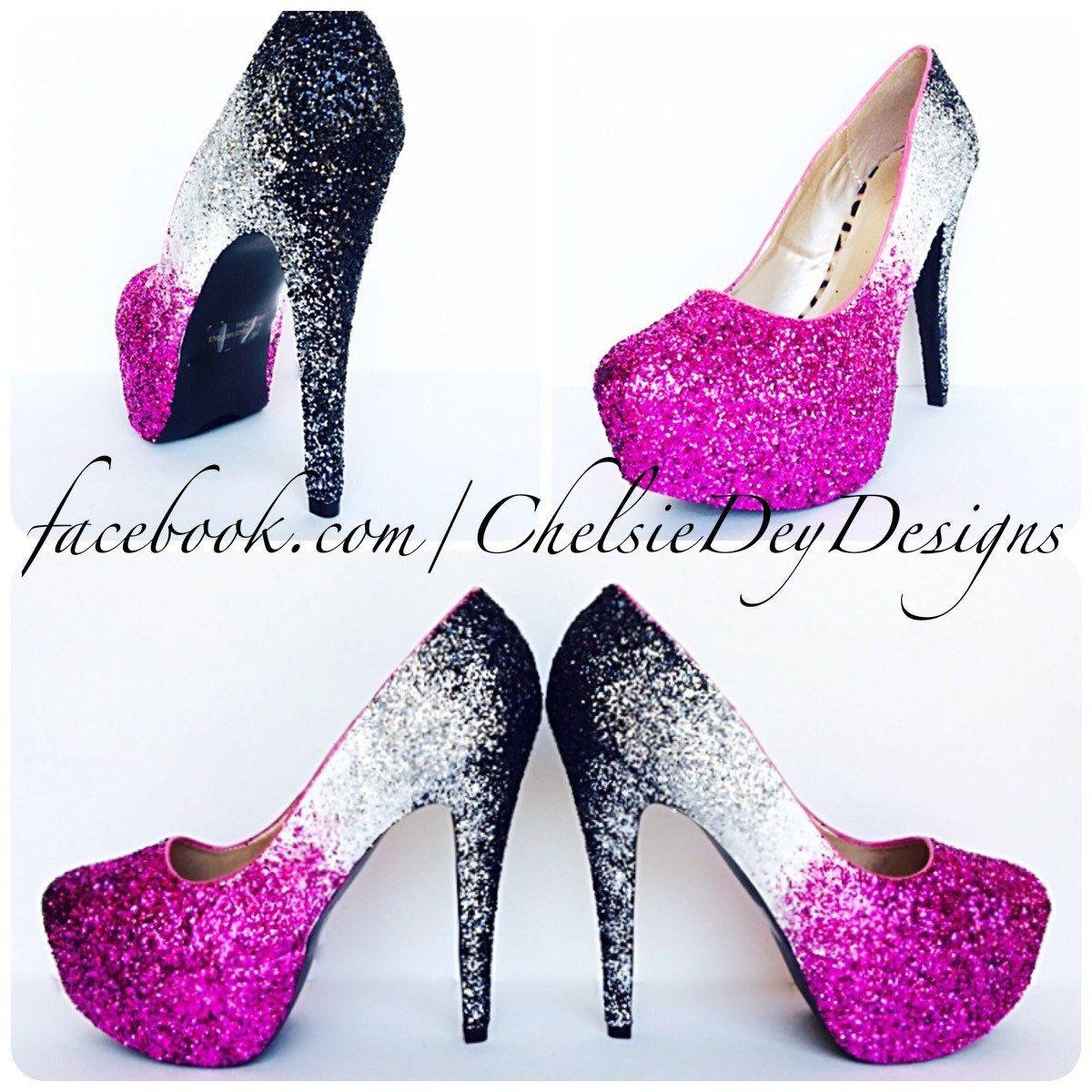 Fuschia Low Heel Wedding Shoes: Hot Pink Fuschia Magenta White Black