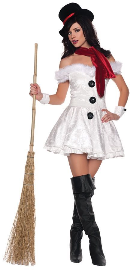 0c573ca9f1e Sexy Snowed In Frosty Snowman Womens Hallloween Christmas Costume Outfit  S
