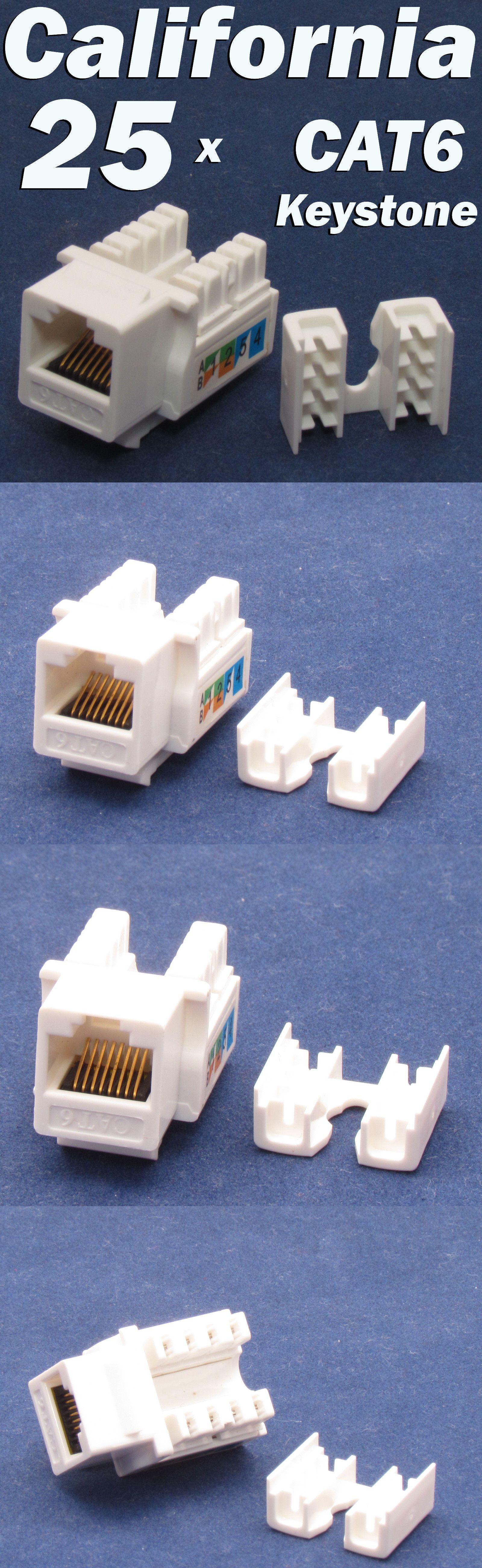 25 X Pcs Lot Keystone Jack Cat6 White Network Ethernet 110 Punch Down 8p8c Rj45 Plates On Wall Wall Jack Plates