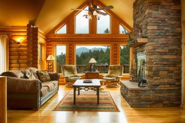 Prime Image Of Breathtaking Log Cabin Living Room With Antique Beatyapartments Chair Design Images Beatyapartmentscom