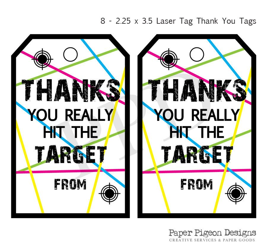 Laser Tag Party Instant Download Tags Printable Digital File Birthday Thank You Favor By