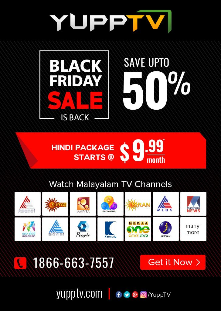 YuppTV proudly announcing the #BlackFridaySale which is upto 50% off