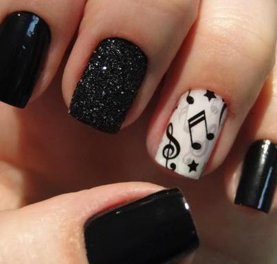 Me gusta Music note nail design! - Wonderful Pretty Music Nails!!! Nails Galore Pinterest Music