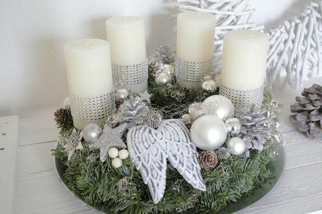 Adventskranz silber pinterest