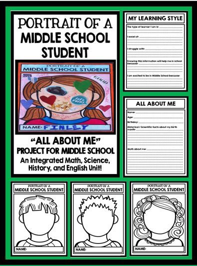 All About Me - Middle School - Back to School - Math