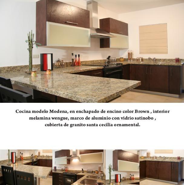 Cocina de madera con barra de granito cocinas for Barras de granito para cocina