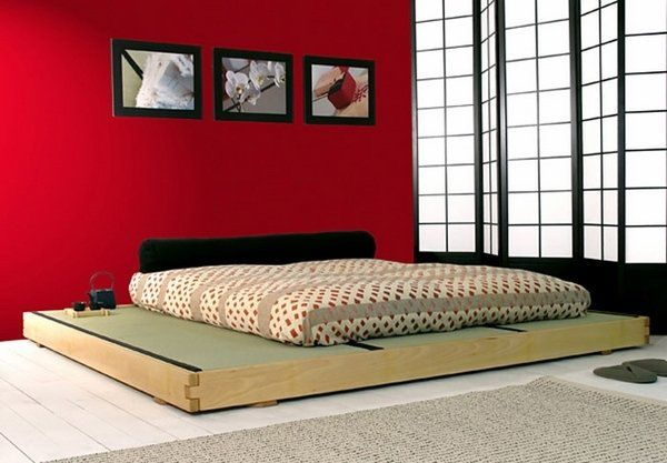 futon bed mattress wooden platform minimalist bedroom design ...