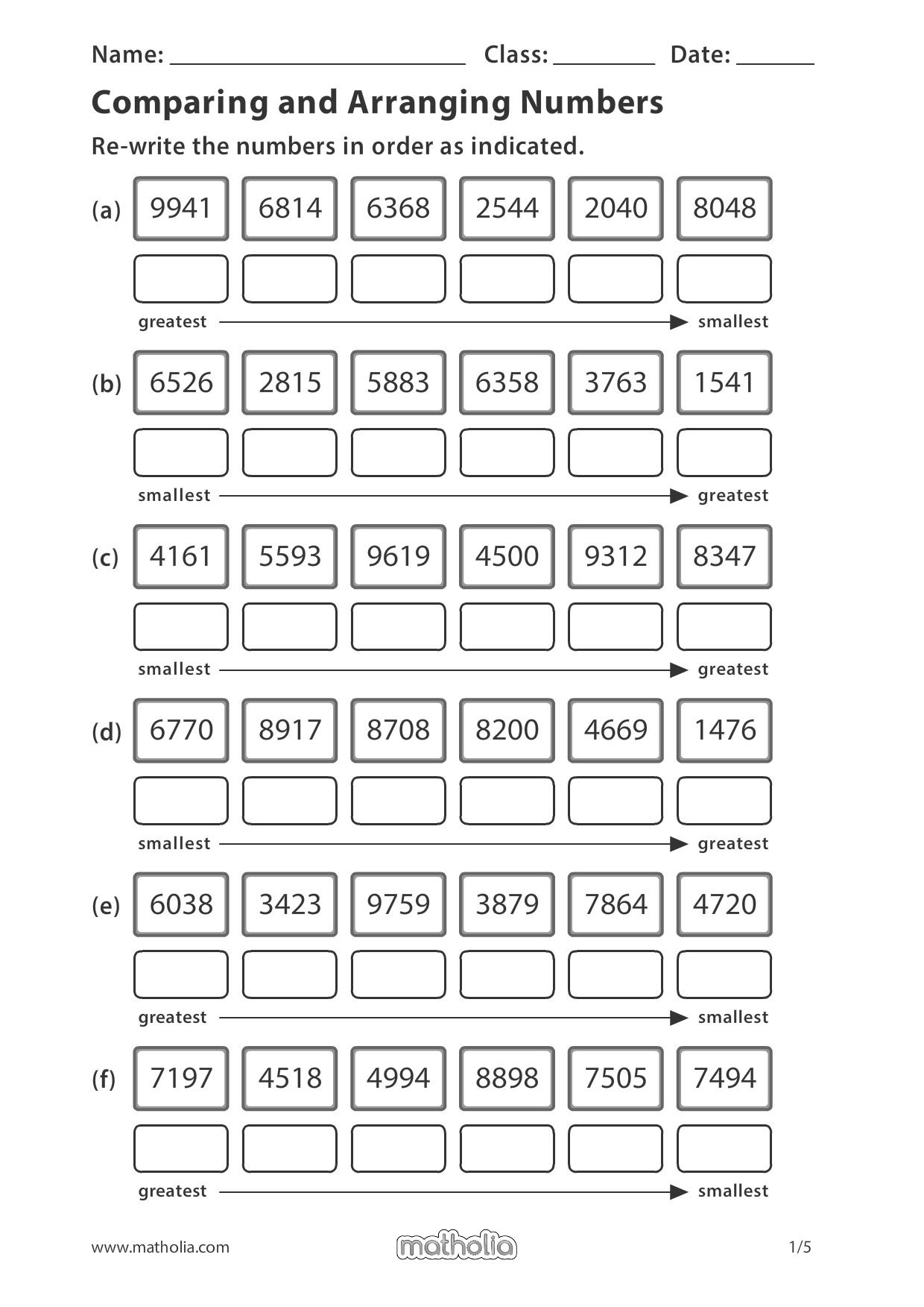 Comparing and Arranging Numbers   3rd grade math worksheets [ 1753 x 1240 Pixel ]