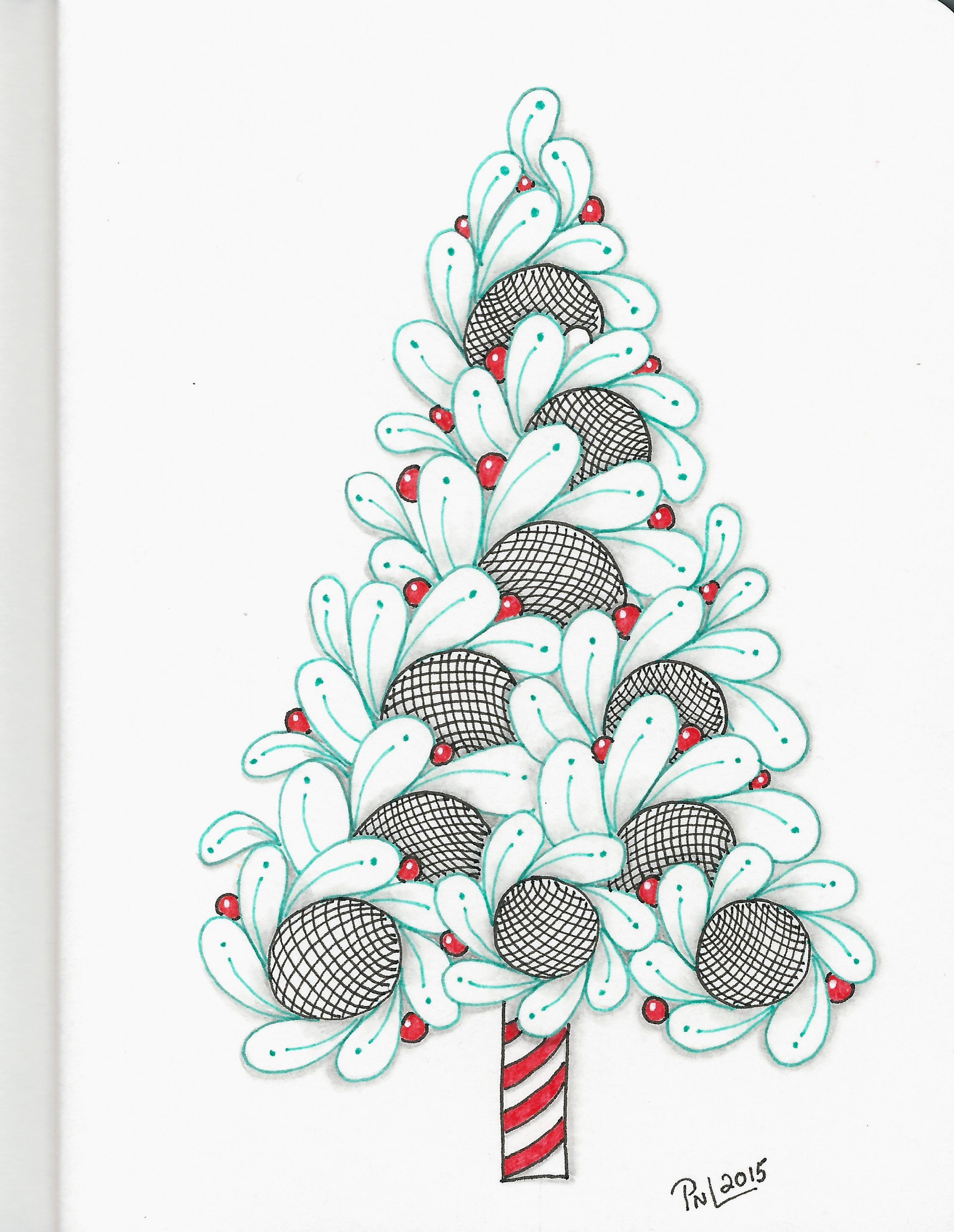 13 Of 16 Christmas Trees Show Casing A Single Tangle Tangle Used Is Cirque Tangled Drawing Zentangle Patterns Christmas Art