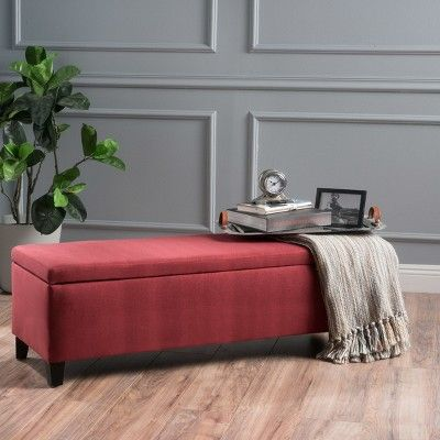 Wondrous Cleo Storage Ottoman Deep Red Christopher Knight Home Dailytribune Chair Design For Home Dailytribuneorg