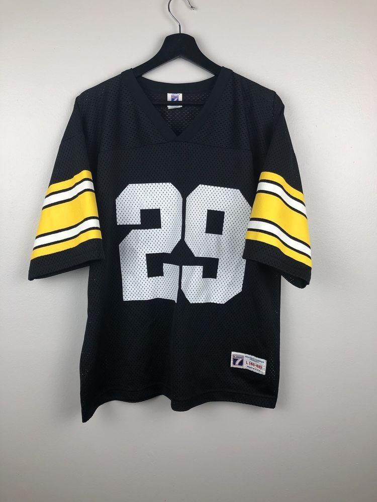 6f9ec6560 Vintage Pittsburgh Steelers Barry Foster Jersey Logo 7 Black Uniform Size L