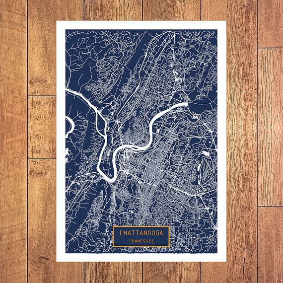 CHATTANOOGA Tennessee City Map Chattanooga Tennessee Art Print