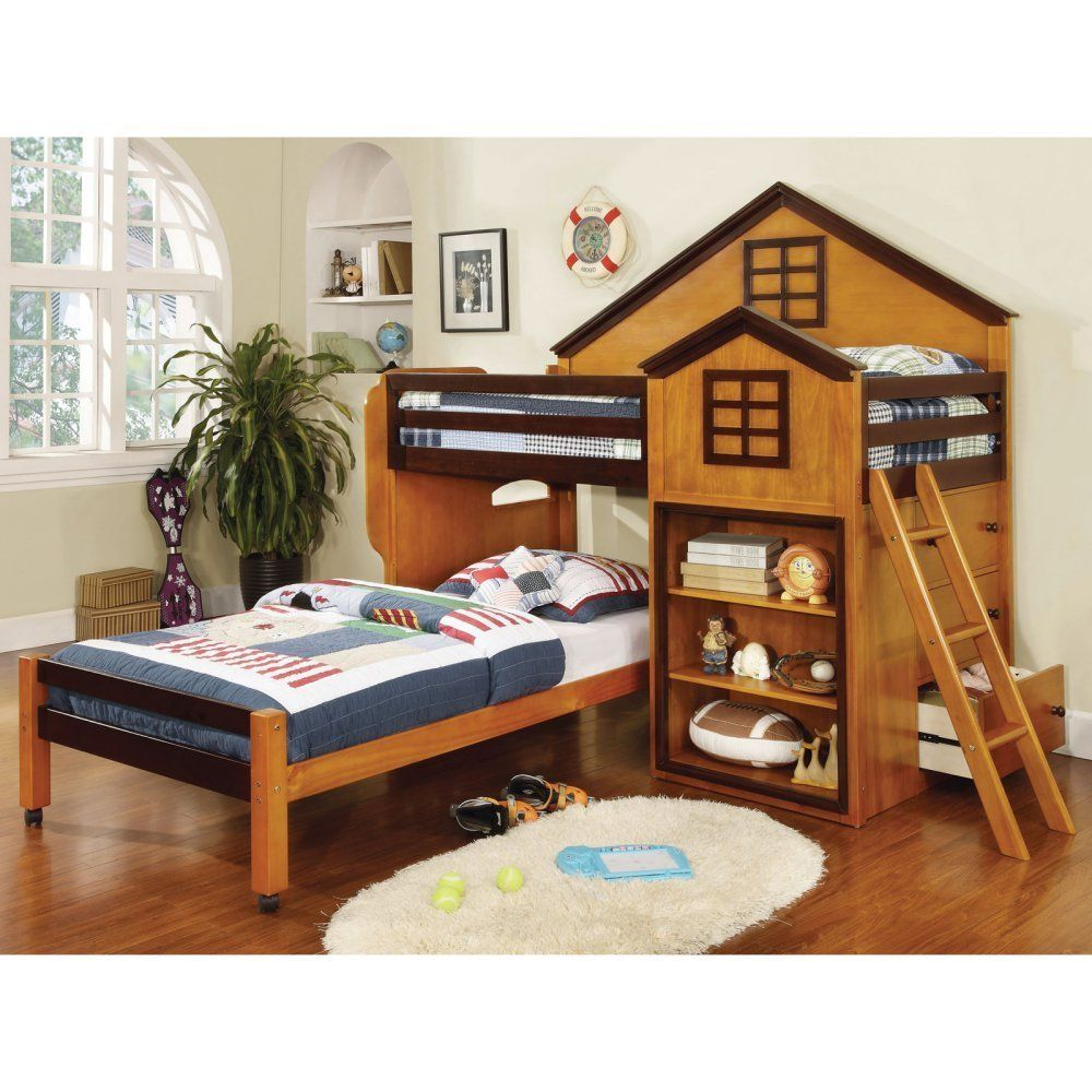 Twin loft bed with stairs and storage  Furniture of America Parker House Design Twin Loft Bed with Storage
