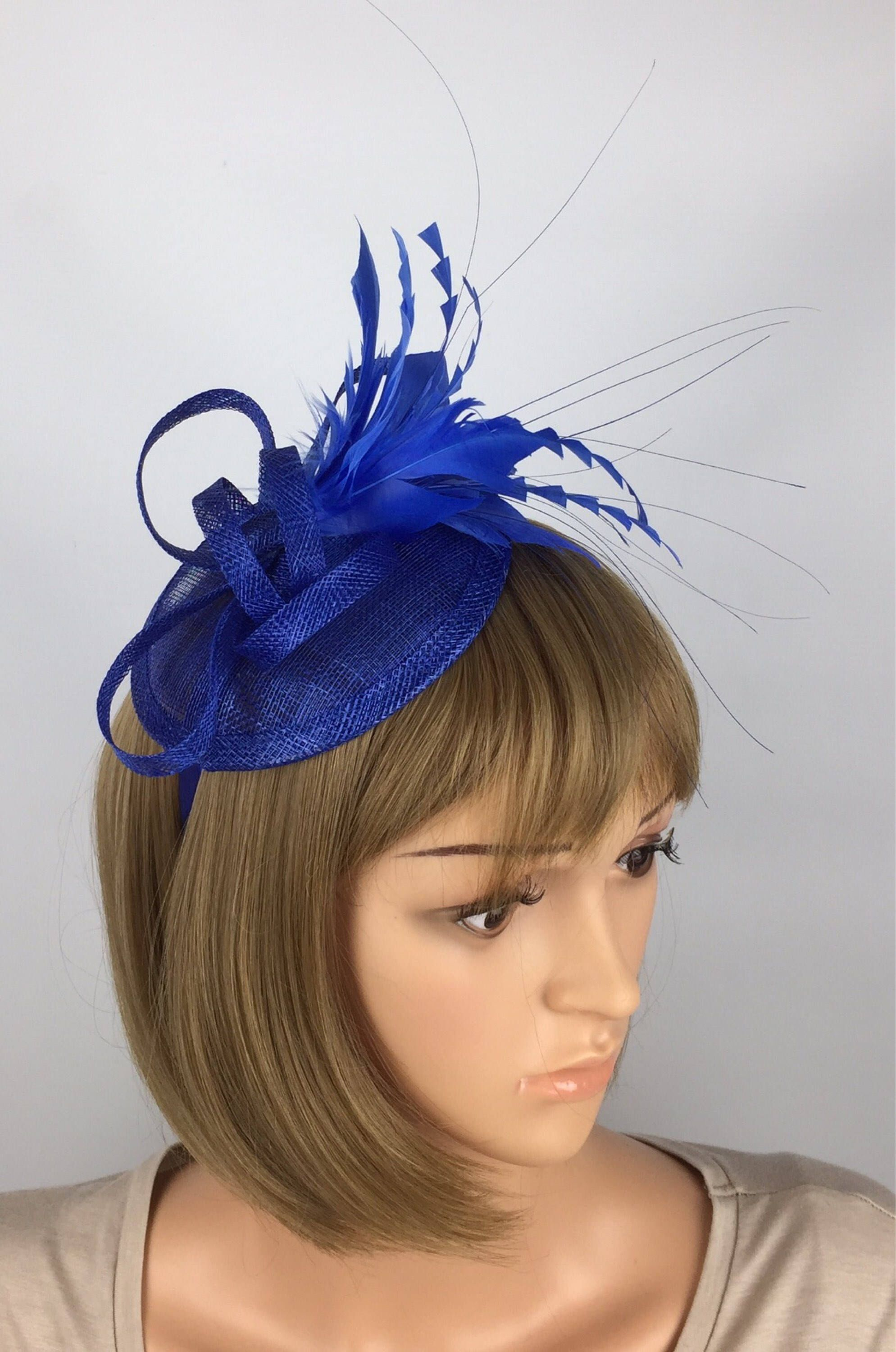 Weddings Navy blue and red Fascinator on a band for Ascot Races Ladies Day
