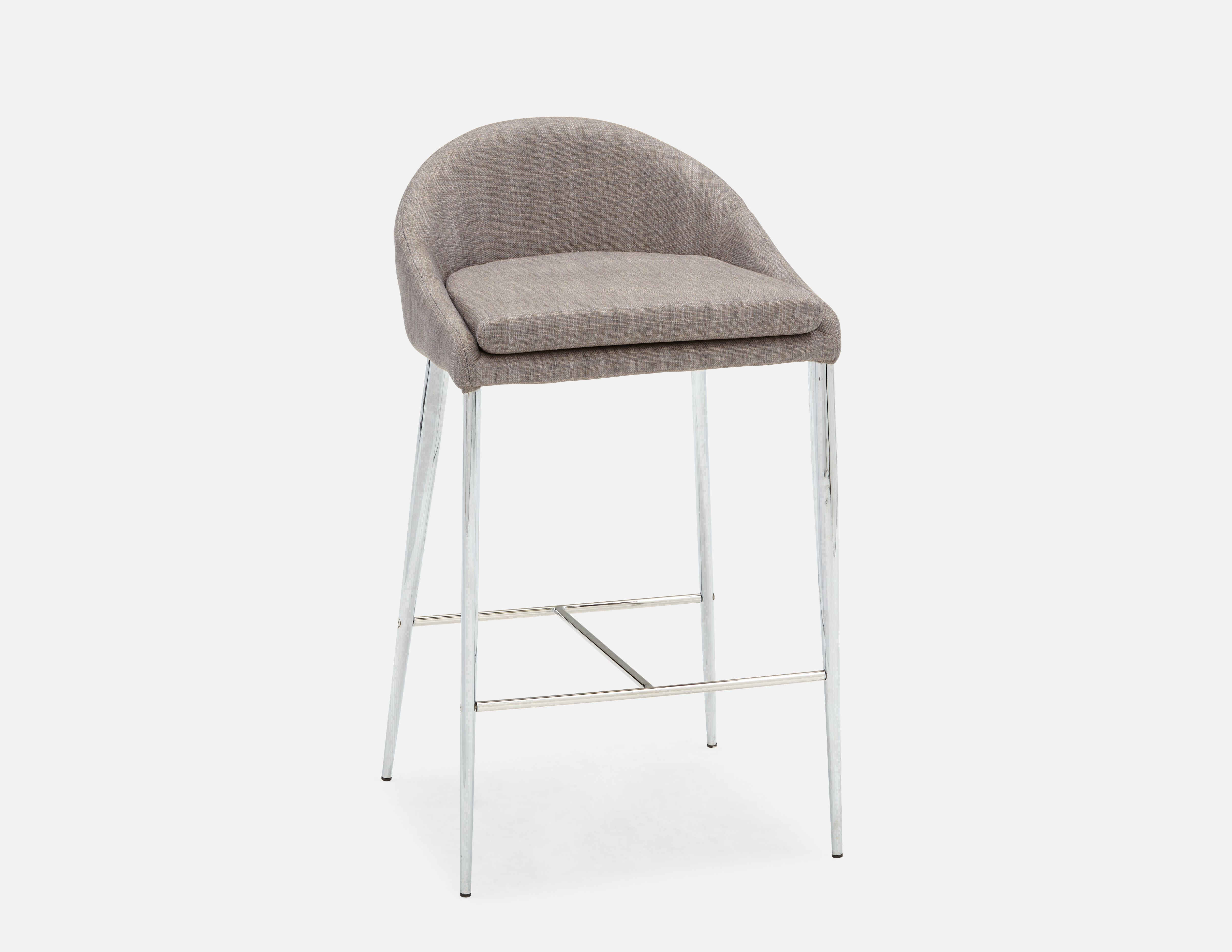 Structube Stools Abby Grey Upholstered Counter Stool 66cm 26