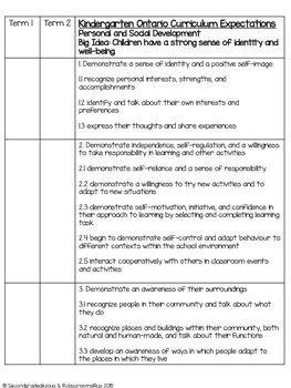 Kindergarten Ontario Curriculum Check List Ontario Curriculum Kindergarten Report Cards Kindergarten Assessment Checklist