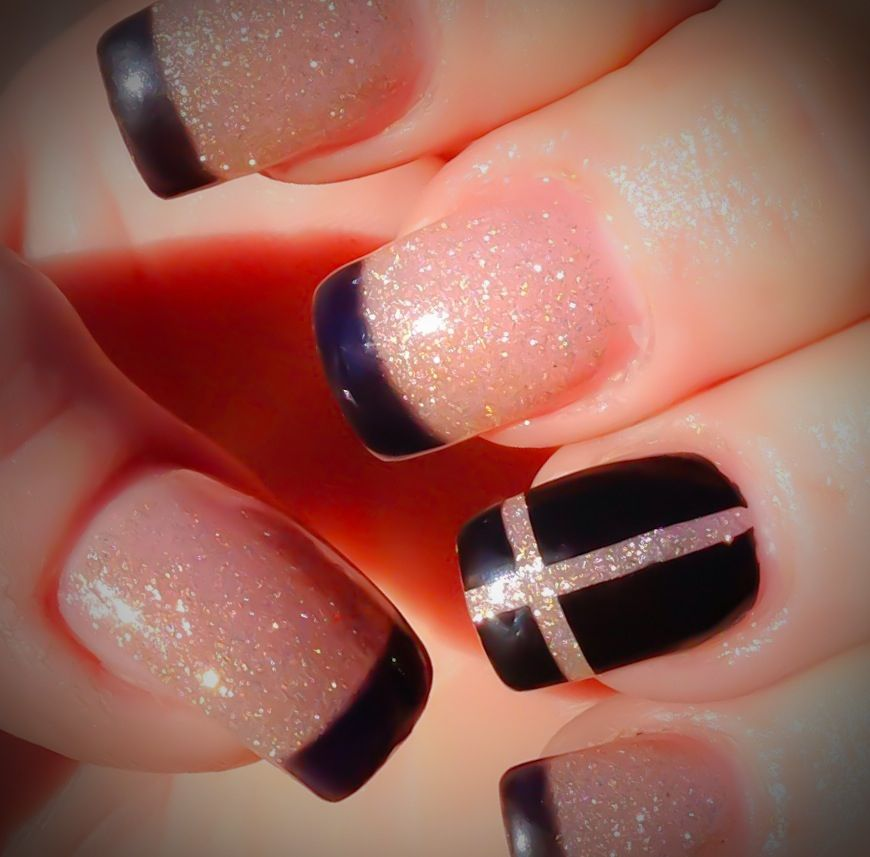 Sparkling Gold And Black Nails With Cross Design Nail Art Pinterest