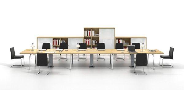Elegant Group Work Desk for Increasing Work Productivity : Long ...