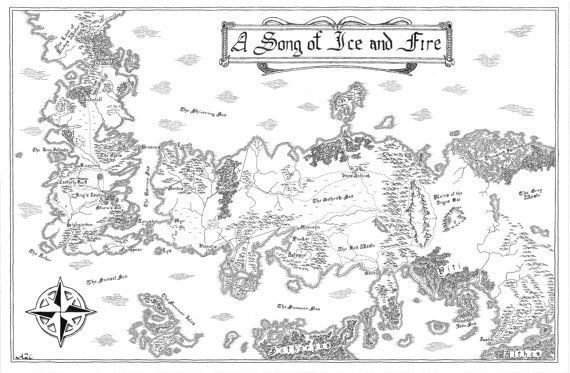 Hand-drawn map of Westeros and Essos A Song of Ice by