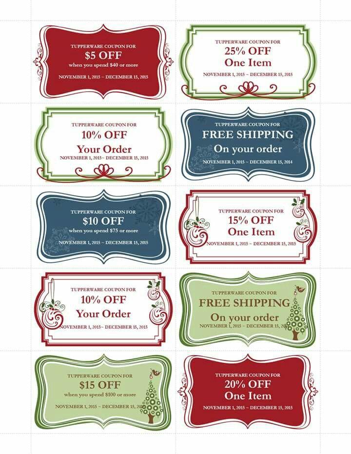 Sales! wwwmytupperware\/bmartin Tupperware goodies Pinterest - free christmas voucher template