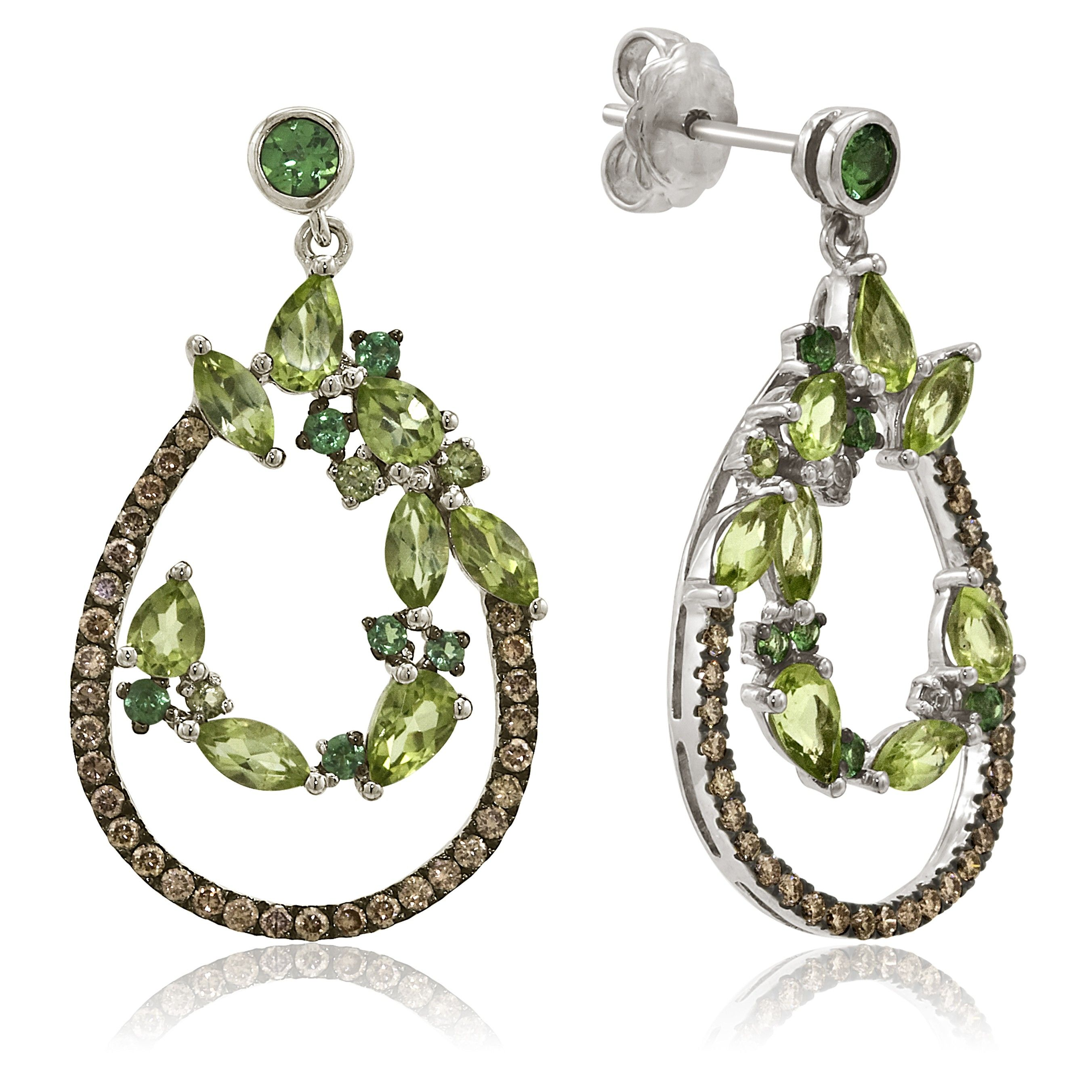 Le Vian 14K White Gold, Green Apple Peridot & Tsavorite Gemstone Dangle Earrings