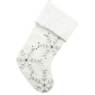 White Linen Embroidered Snowflake Jewels Stocking