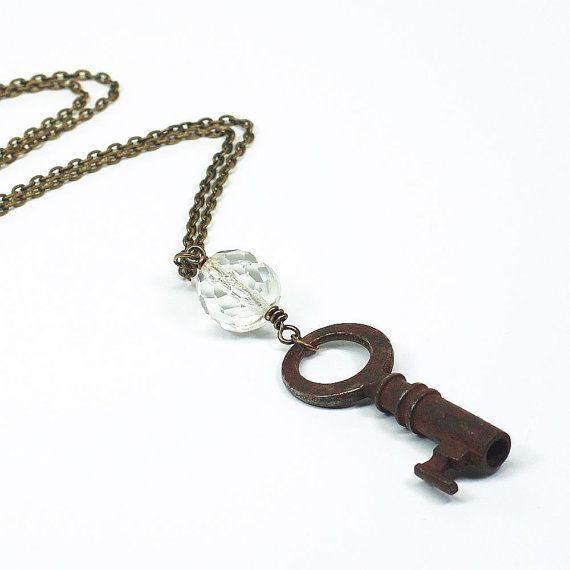 Skeleton Key Necklace W Vintage Chandelier Crystal Upcycled - Upcycled chandelier crystals