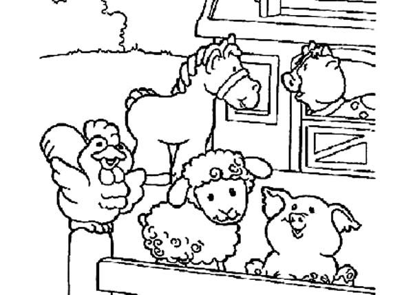 Cute Picture Of Farm Animal In The Barn Coloring Page Farm Animal Coloring Pages Animal Coloring Pages Baby Farm Animals