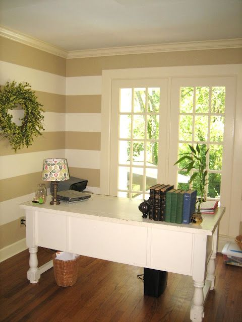 painting office walls.  Painting Remodelaholic  Blog Archive Painted Horizontal Striped Office Walls  Inside Painting E