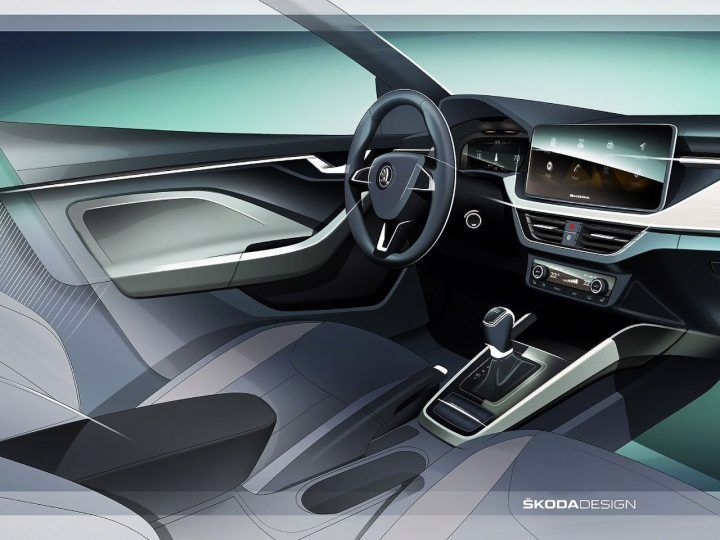 Skoda Scala Previewed with interior design sketch #Skoda #SkodaScala #InteriorDesign #CarInterior #DesignSketch #CarDesign #CarBodyDesign